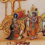 Arjuna inquires from the Supreme Lord Sri Krishna before the battle of Kurukshetra in Srimad Bhagavad-gita