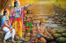 Lord Rama, Laksman, and Hanuman constructing the bridge