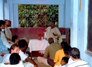 Srila Govinda Maharaj meeting with the devotees in Nabadwip on his verandah