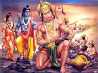 Hanuman constructing the bridge