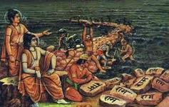 Stones inscribed with the Holy Name of Lord Rama floated