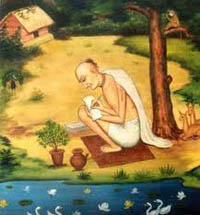 Srila Krishna Das Kaviraj wrote the great spiritual treatise Sri Chaitanya Charitamrta which describes the life and teachings of Sri Chaitanya Mahaprabhu.