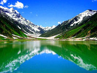 Mountains of Kashmir reflected in a pristine lake